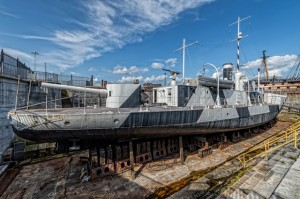 HMS M.33 in Dry Dock pre-restoration. Credit-NMRN